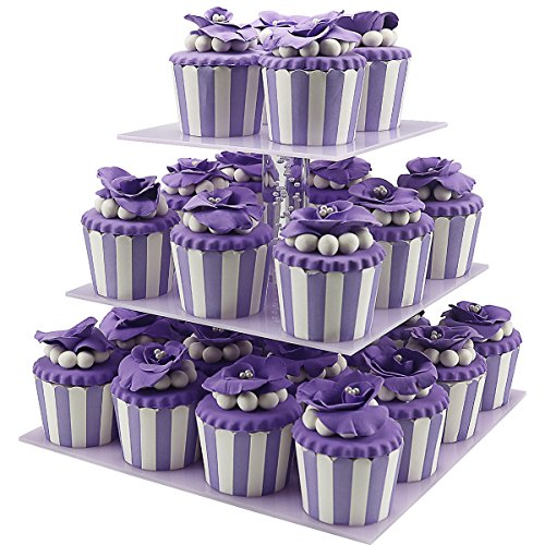Cupcake Holder,3 Tiered Birthday Party Cupcake Holder Stand Graduation/Silicone/Mini, Acrylic Plastic Purple Cupcakes Holders Display Rack Stands Tower for Wedding,Parties,Christmas 36 (Purple Cupcake)