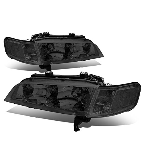 For Honda Accord Pair Smoked Housing Clear Corner Bumper Driving Headlight/Lmaps