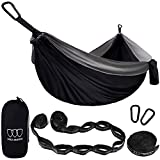 XL Double Parachute Camping Hammock - Tree Portable with Max 1000 lbs Breaking Capacity - FREE 16 Loops Tree Strap & Carabiners For Backpacking, Camping, Hiking, Travel, Yard (Black / Gray)