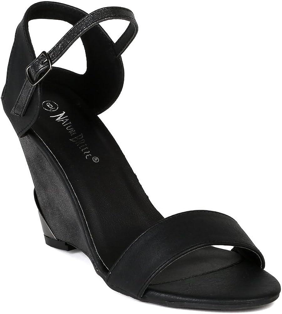 Women Leatherette Open Toe Ankle Strap Burnish Heel Wedge Sandal AI42 - Black