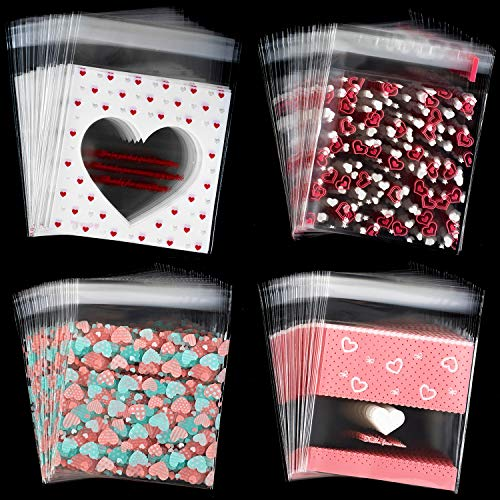 Whaline 400 Pieces Valentine Cellophane Bags Cookie Treat Bags, Heart Self-Adhesive Clear Plastic Candy Bags Party Favor Gifts Goodies Bags, 4 Styles