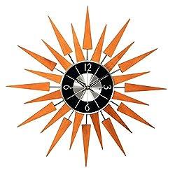 Mid-Century Hans Andersen Home Wooden Finish Sunburst Clock, Orange