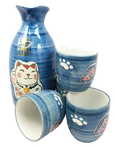 Japanese Maneki Neko Lucky Charm Cat Glazed Ceramic Blue Sake Set Flask With Four Cups Great Asian Living Home Decor and Gift For Housewarming Special Friendship Eastern Decorative Party Set