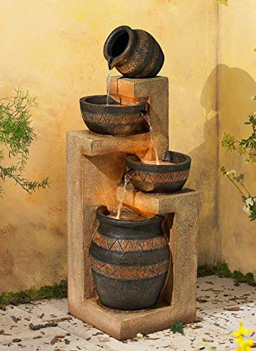 "John Timberland Rustic Stoneware Bowl and Jar Outdoor Floor Water Fountain with Light LED 46"" High Cascading for Yard Garden Patio Deck Home"