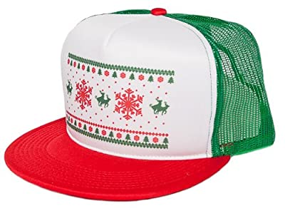 Humping Reindeer ugly Christmas Unisex-Adult One-Size Trucker Hat Green/White/Red