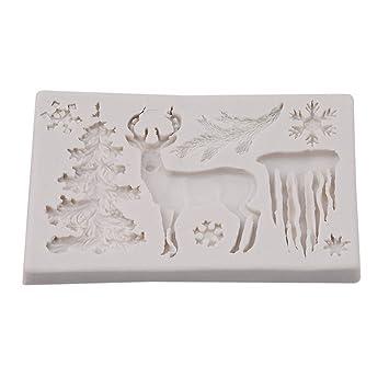 chinget silicona Fondant Sugarcraft molde árbol de Navidad copo de nieve renos forma molde decoración de pasteles: Amazon.es: Hogar