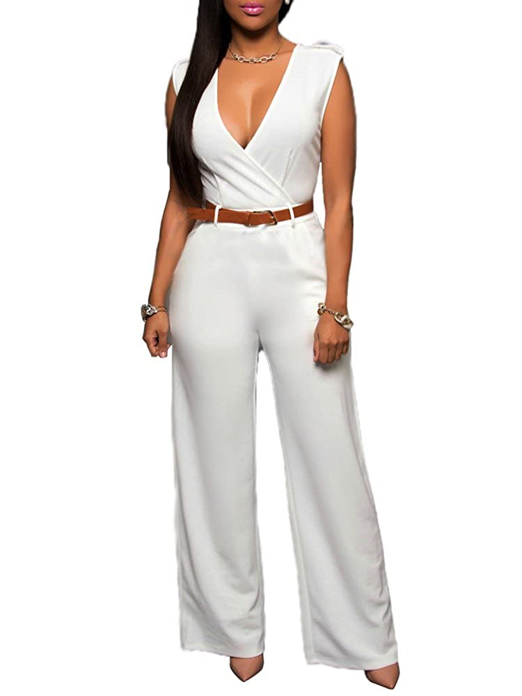 6f4ffd620d50 Amazon.com  CutieLove Women s Sexy Wrap Deep V Neck Cold Shoulder Ruffle  Sleeve Wide Leg Jumpsuit with Belt  Clothing