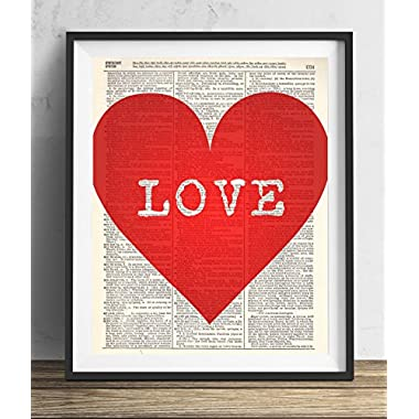 Big Red Heart Love Upcycled Dictionary Art Print 8x10