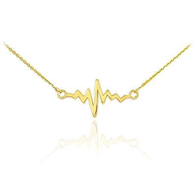Fine Jewelry 14K Yellow Gold Polished Heartbeat Charm Pendant vsxU71d