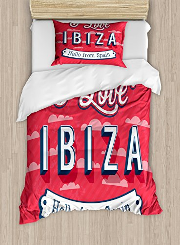 Lunarable Ibiza Twin Size Duvet Cover Set, Spring Break Vacation Place Advertisement Design Hello from Spain, Decorative 2 Piece Bedding Set with 1 Pillow Sham, Dark Coral Blue and White by Lunarable