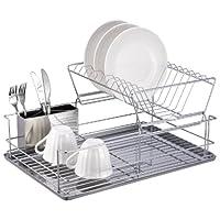 Básicos para el hogar Estante para platos de acero de 2 niveles con taza de utensilio extraíble