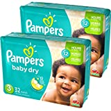 #5: Pampers Baby Dry Diapers Size 3 Jumbo Pack, 32 Count, Pack of 2
