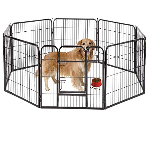 "BestPet Pet Playpen 8 Panel Indoor Outdoor Folding Metal Protable Puppy Exercise Pen Dog Fence,24"",32"",40"" (40"", Black)"