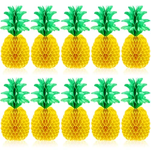 Blulu 10 Packs 14 Inch Pineapple Honeycomb Centerpieces Tissue Paper Pineapple Table Hanging Decoration for Hawaiian Luau Party Supplies Favors