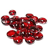 "Custom & Fancy {.65'' - .75"" Inch} Approx 100 Pieces/16 oz of Round Circle ""Table"" Party Confetti Made of Genuine Glass w/ Ruby Color Elegant Translucent Flat Pebble Stone Gem Scatter Design [Red]"