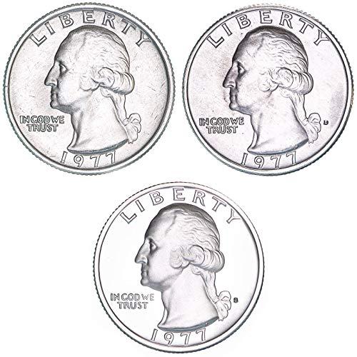 1977 P D S Washington Quarter Year Set BU & Gem Proof 3 Coins ()