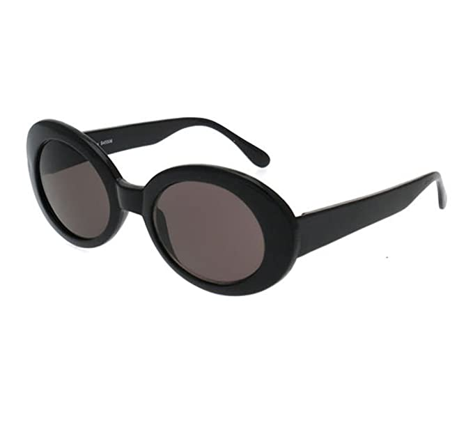 399b0495bb02 BOLD Retro Oval MOD Thick Frame Clout Goggles Round Lens Sunglasses (Black