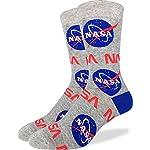 Good Luck Sock Men's Nasa Socks – Grey, Adult Shoe Size 7-12
