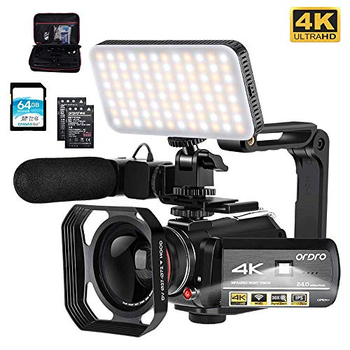"Video Camera 4k Camcorder, ORDRO 1080P 60FPS Vlog Camera 3.1"" IPS IR Night Vision WiFi Camcorder with Microphone, Wide Angle Lens, LED Fill Light, Handheld Holder and Storage case, 64GB SD Card"