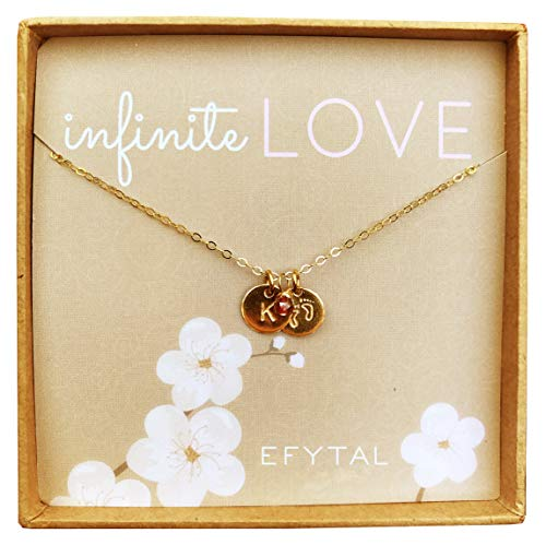 EFYTAL Personalized Tiny Gold Filled Baby Feet Necklace with Custom Initial and Birth Month Charm, Infinite Love