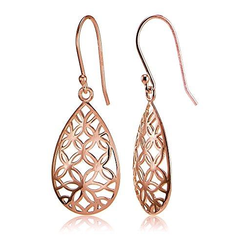 Rose Gold Flashed Sterling Silver Filigree Floral Design Teardrop Earrings Sterling Floral Filigree Earrings