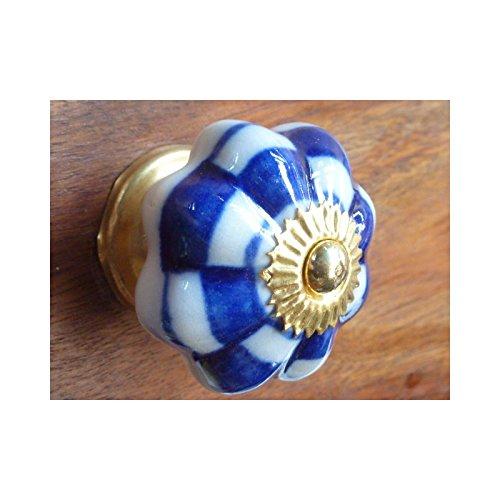 int. d'ailleurs - Boutons porcelaine damier bleu - KNB664 int. d' ailleurs
