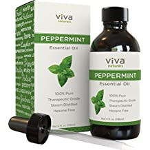 Viva Naturals Peppermint Essential Oil, 4 oz - 100% Pure & Therapeutic Grade, Premium Extract of Mentha Piperita