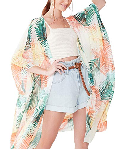 - Chiffon Floral Kimonos for Women Summer Sunscreen Air Conditioning Cover up XL