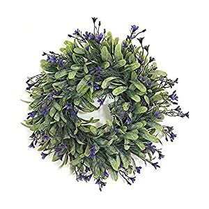 """YaptheS Artificial Lavender Wreath 11"""" Silk Flower Wreath Pendant for Front Door, Wall, Family Wedding Decor Household Products 120"""