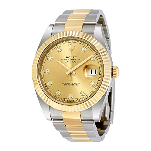Rolex Datejust 41 Champagne Diamond Dial Steel and 18K Yellow Gold Oyster Mens Watch 12633CDO