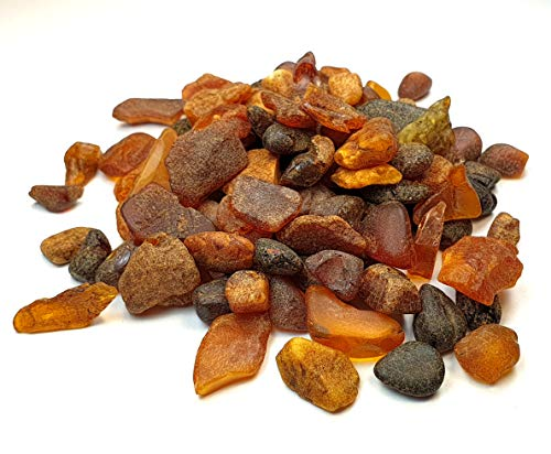 Amber Culture Baltic Amber Raw Round Stone Baltic Amber Resin, Genuine and Natural. Random Lot (Amount: 2.64 Ounces / 75 Grams) NTSA75