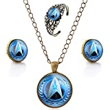 LUREME Bronze Glass Time Gem Star Trek Stud Earrings Necklace Bangle Jewelry Set for Women (js000742-2)