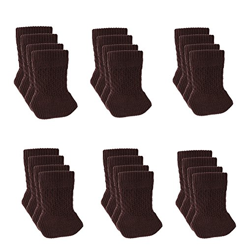 24 PCS Chair Leg Socks Knitted Furniture Socks Chair,Floor Protectors for Avoid Scratches Furniture Pads for Moving Easily and Reduce Noise (Dark Coffee) (Rectangular Leg Dining Table)