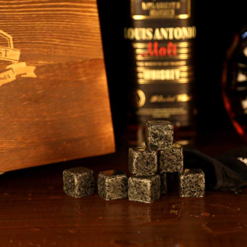 Whiskey Stones Gift Set – Whiskey Glass Set of 2 – Granite Chilling Whiskey Rocks – Scotch Bourbon Whiskey Glass Gift…