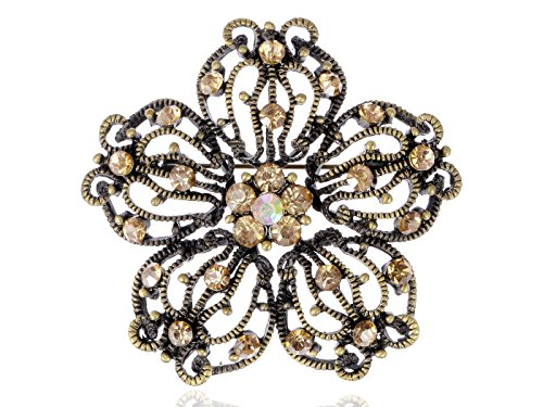 (Alilang Intricate Vintage Inspired Antique Tone Topaz Yellow Floral Crystal Flower Brooch Pin)