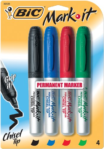 Bic Permanent Marker, 4-Color, Rubber Grip, Chisel Tip, Assorted (BICGPMMP41ASST)
