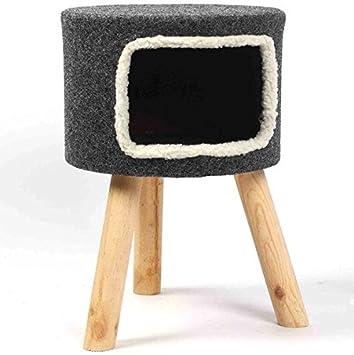 Casa para gato tipo taburete, de fieltro gris, 53 cm de altura, elegante y contemporánea: Amazon.es: Productos para mascotas