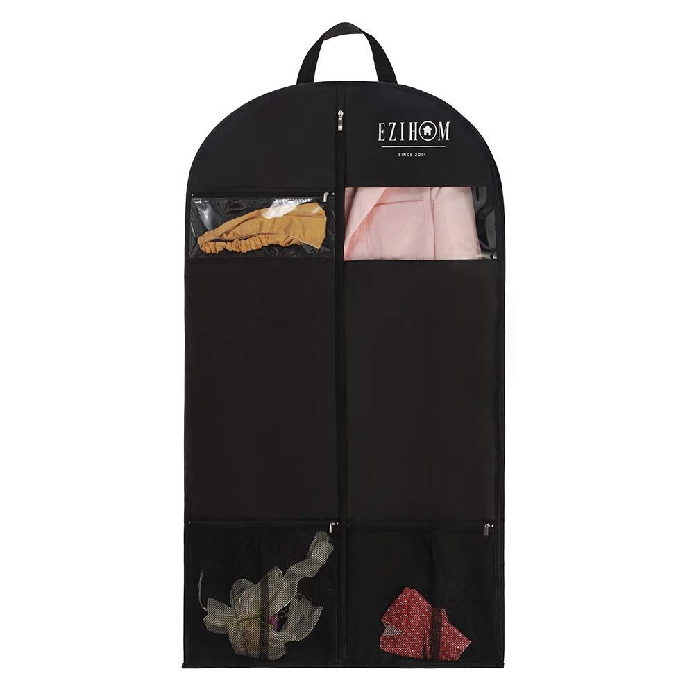 Ezihom 43'' Black Garment Bag for Travel with 3 Zipper Pockets, Breathable Garment Bag for Suit and Coat