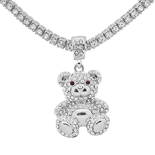 White Gold-Tone Hip Hop Bling Simulated Crystal Teddy Bear Pendant with 24