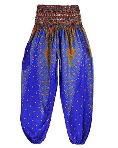 Elastica Pantaloni Pantaloni Lanterna Vita Vintage Sciolto Estivi Casuali Pantaloni Fashion Blau Aladin Pluderhose Donna Ragazza Chic Di Abbigliamento Hippie Harem Pantaloni Stampato Pattern Eleganti TdxTapEwq