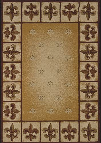 United Weavers of America China Garden Fleur de Lys Area Rug – 7ft. 10in. x 10ft. 6in., Multicolor, Olefin Rug with Southwestern Pattern, Dense Pile, Linen