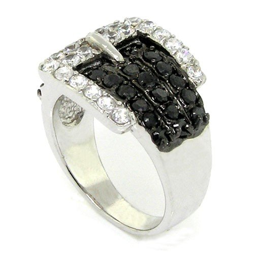 Buckle Right Hand Ring - Charming Buckle Cocktail Ring w/Black & White CZs.