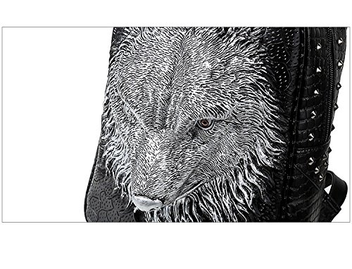 bolsa realista ordenador 35L animal Mens mochila lobo 20 mochila alta cabeza PU de portátil la 3D viaje calidad Gold portátil de de fnAWRTqf