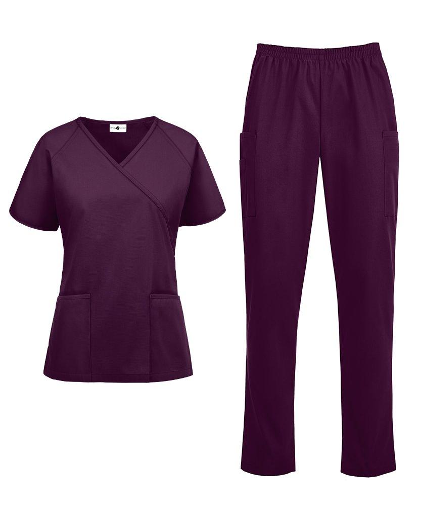Women's Medical Uniform Scrub Set – Includes Mock Wrap Top Elastic Pant (XS-3X, 14 Colors) (Large, Wine)