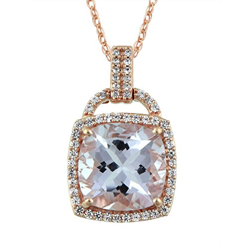 Jewelili 10kt Rose Gold 10x10mm Cushion Cut Light Shade Rose De France and Round Created White Sapphire Lock Halo Pendant Necklace, 18