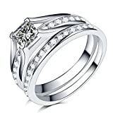 2.0 Carat Princess Cut Wedding Engagement Ring, 925 Sterling Silver and Stainless Steel (sterling-silver, 10)