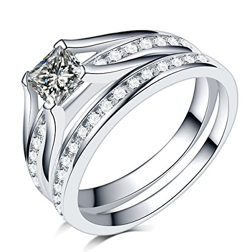 2.0 Carat Princess Cut Wedding Engagement Ring, 925 Sterling Silver Stainless Steel (Sterling-Silver, 5)