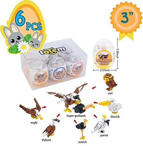 Totem World 6 Filled Easter Egg Building Toys – Zoo Animal Bird Set – Age 6-12 Learning Educational Inside 3″ Large Plastic Egg – Great For Easter Basket Stuffers – Combine Blocks to Build a Mega Hawk