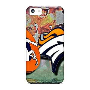 PhilHolmes Iphone 5c Protective Cell-phone Hard Cover Allow Personal Design Lifelike Denver Broncos Pattern [VKU19773CgyW]