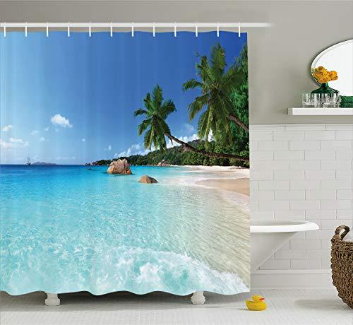 (Ambesonne Beach Shower Curtain Set Ocean Decor, Tropical ANSE Lazio Beach at Praslin Island and Surf Beach Photography Print, Fabric Bathroom Decorations, with Hooks, Ivory Blue Green Turquoise)